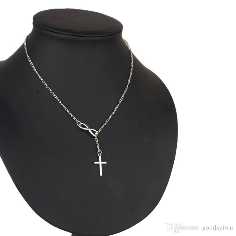 NEW Fashion Infinity Cross Pendant Necklaces Wedding Party Event 925 Silver Plated Chain Elegant Jewelry For Women Ladies