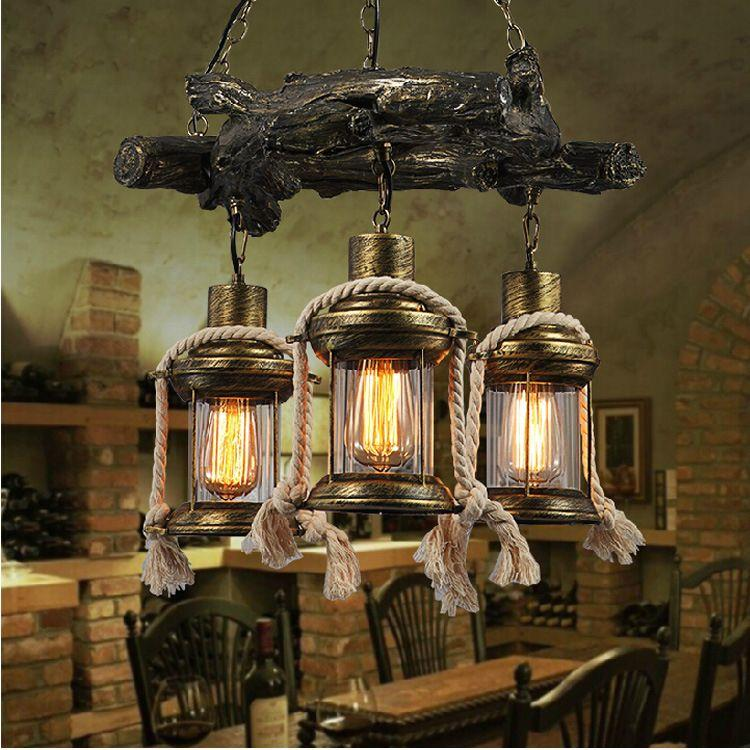 Pendant Lamps /Continental Antique Lantern LOFT American Country Resin Chandelier  Vintage Chandelier Restaurant Bar Industrial Engineering L Pendant Lights  ... - Pendant Lamps /Continental Antique Lantern LOFT American Country