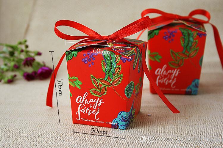 Новый стиль красный цветок свадьба коробка конфеты Boxs ленты бантом лазерная резка конфеты подарочные коробки свадьба пользу Boxs TH120