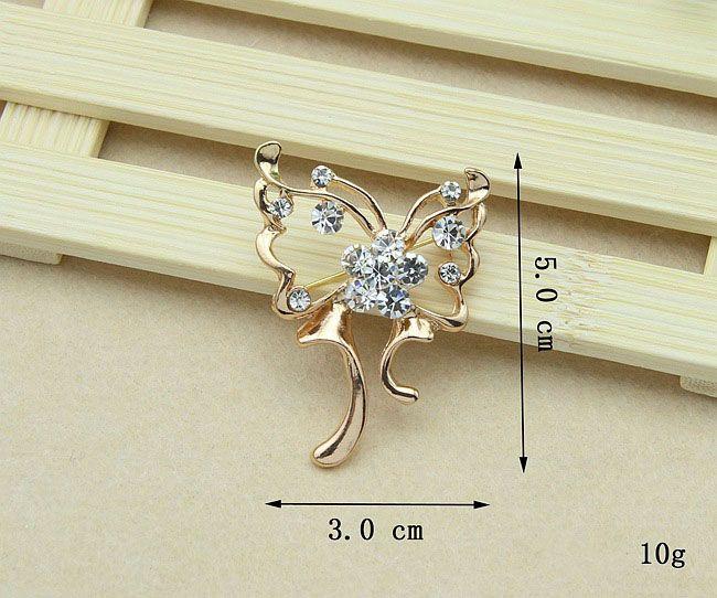 Broszki Szpilki na dziewczynę Prezent Gorący Sprzedający Złoto Kryształ Kryształ Rhinestone Kwiat Bukiet Pin Brooche Biżuteria Hurtownie Darmowa Wysyłka 003DR