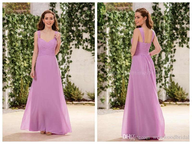 Compre 2018 Vestidos De Dama De Honor Gasa Jasmine Prom Dresses ...