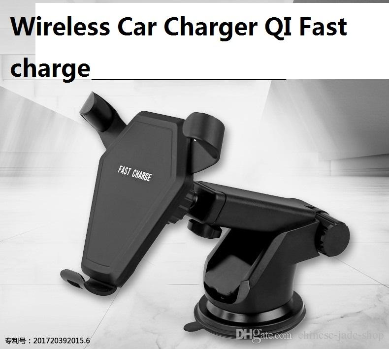QI 9V Fast Wireless Charger Car Mount Holder Air Vent Stand for iPhone 8 X Samsung Galaxy S6 S7 S8 Plus IN REATIL