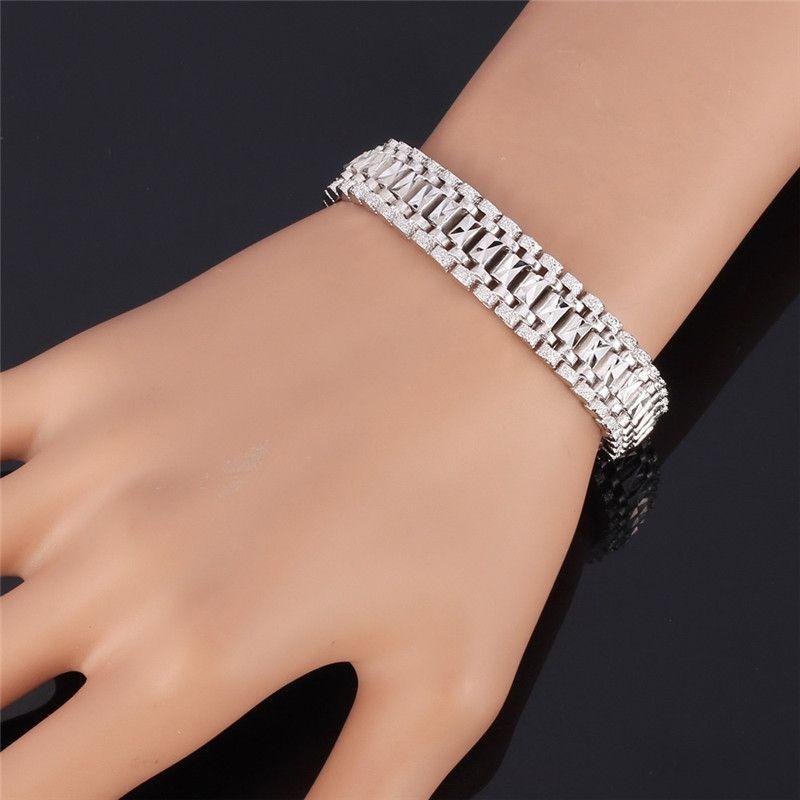 18K Gold Armband Männer Schmuck Rock Style Platin vernickelt 19cm 12MM Dicke Chain Link Armband Großhandel