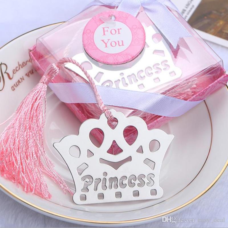 Princesa exquisita Crown Bookmarks para niños Baby Shower Souvenirs cumpleaños favores de la boda cumpleaños regalos de graduación F20172641