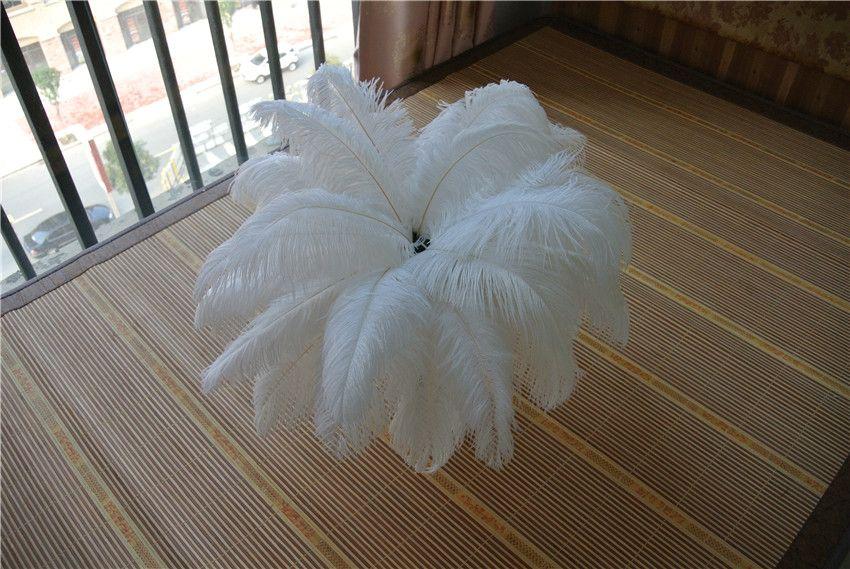 Groothandel 100 stks / partij 12-14inch 30-35cm witte struisvogelveren voor bruiloft centerpiece tafel centerpieces Home Party Decor