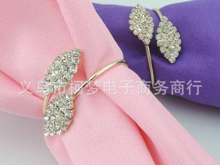 Diamond crystal Leaves shaped napkin ring for wedding & home decoration Full crystal diamond napkin holder for Table Decor Wedding Bling