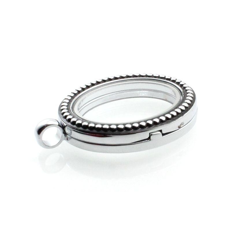 Silver Owalne szkło magnetyczne Pływający urok Locket 28x34mm Łańcuchy dołączone za darmo LSFL08-1