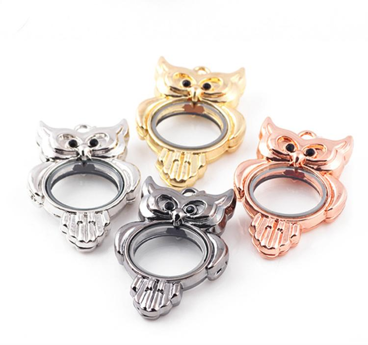 Spot Owl Style DIY Glass floating lockets Rose Gold or Silver plated magnetic charm Zinc Alloy locket For necklaces Jewelry Accessories