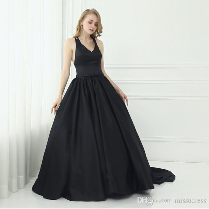 Black Ball Gown Prom Dresses V Neck Satin Elegant Women Evening Gown ...