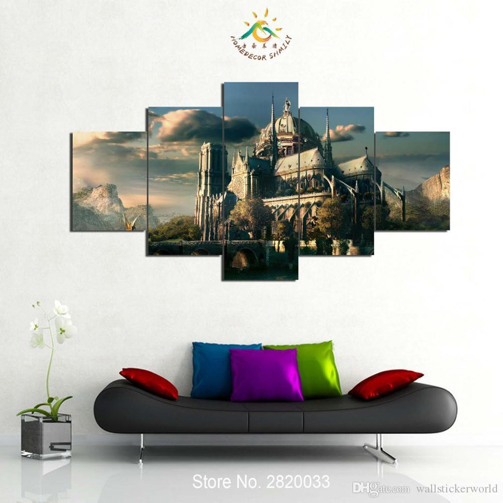 HD Printed Vintage Castle Canvas Art Wall Pictures Canvas Prints Painting Artwork Wall Pictures Home Decoration Wall Decor