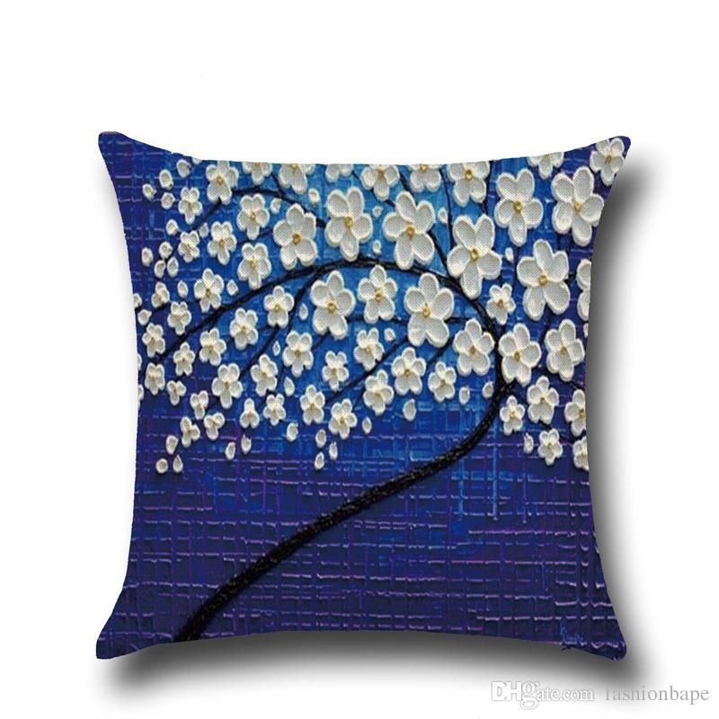Yağlıboya Çiçek Yastık Kılıfı Keten Yastık Kılıfı Araba Bel Geri Yastık Atmak Ofis Koltuğu Minder Örtüsü Ev Kanepe Dekorasyon