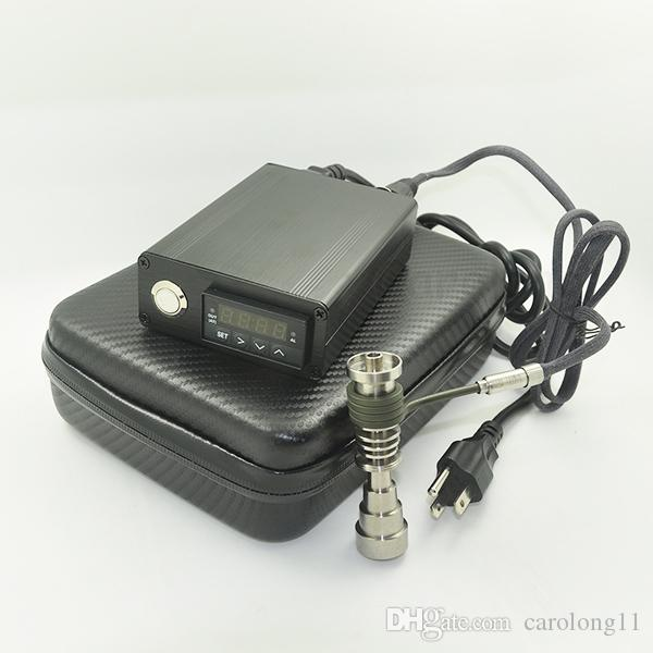 Ucuz Elektrikli Dab Tırnak Kutusu Komple Kiti Isıtma Bobin ile Gr2 Titanyum Çivi seti için Sıcaklık Kontrol Rig Yağ Cam Bongs su borusu