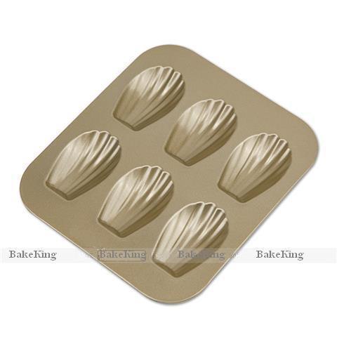 Madeleine recubrimiento antiadherente bandeja estándar FDA LFGB BPA libre, color oro, 6cups