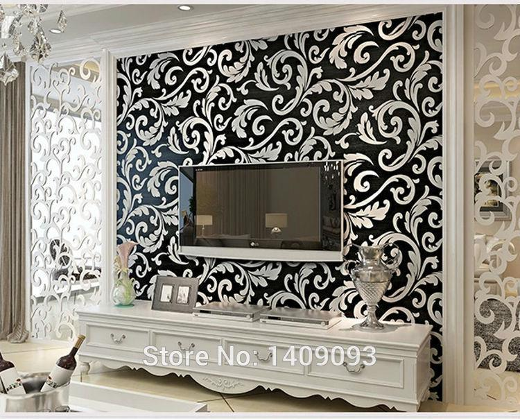 Brand new 2015 modern luxury wallpaper damask wall paper roll floral papel de parede 3d non woven high quality mural wall decor more wallpapers movie