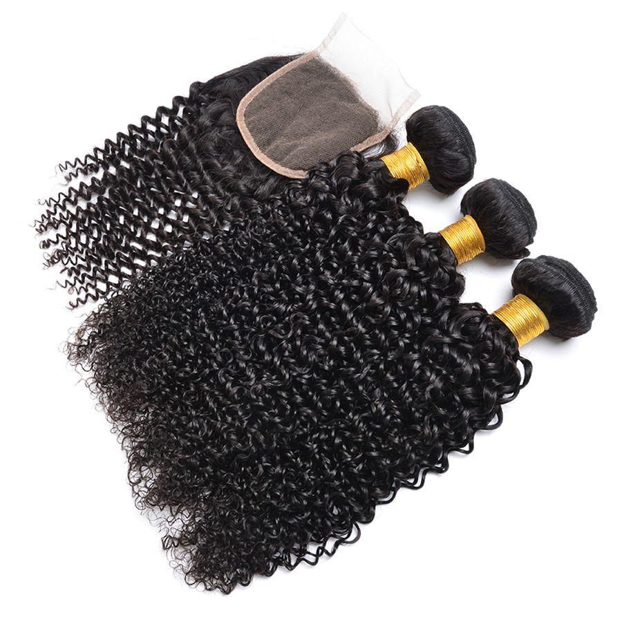 Capelli brasiliani dell'onda riccia con i capelli vergini della chiusura 3 pacchi con la chiusura dell'orlo all'orlo ed i pacchi del merletto Tessuto crespo dei capelli umani