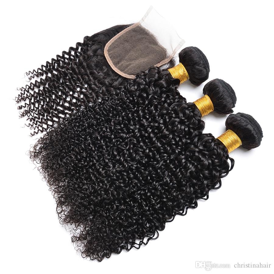 Pelo brasileño de la onda rizada con el cierre Pelo virginal 3 paquetes con el cierre del cordón de la oreja a la oreja y los paquetes de la armadura rizada rizada del cabello humano