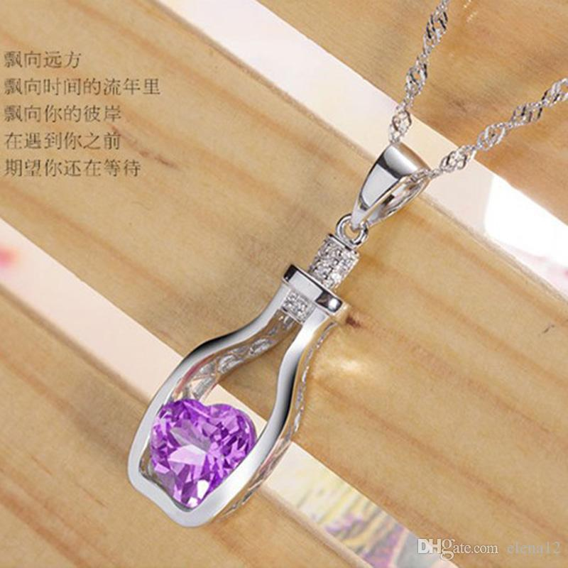 Austrian Crystal Wishing Drifting Bottle Necklace earring keychain Pendant Sparkle gem Love Heart Fasion Jewelry For Women