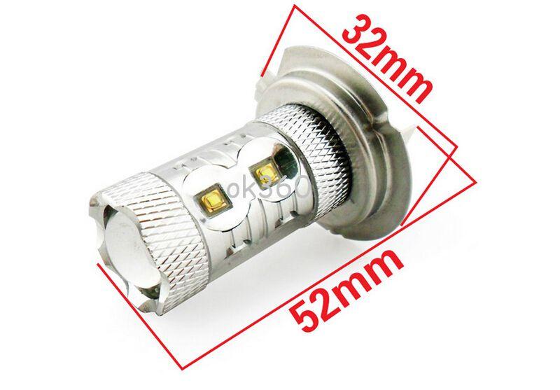 Lampes de brouillard d'antibrouillards de voiture de la puce 50W H7 H4 LED de LED, phare blanc automatique de phares de la lumière LED de voiture de lumière de jour de puissance élevée