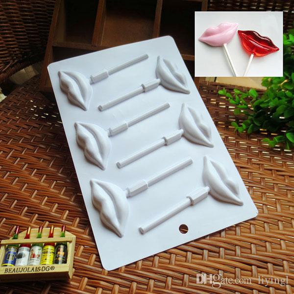 Lollipop Candy mold Chocolate mold Pudding mould jelly mold stand 18cm Lips shaped Plastic Baking Fondant styling tools Soap Ice Cube making
