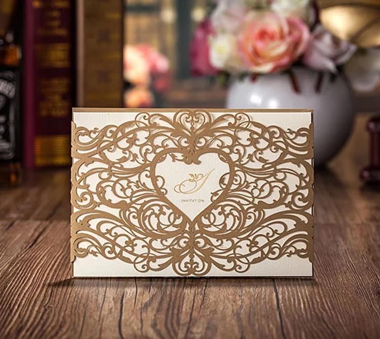 Ücretsiz kargo 50 adet / grup Toptan Düğün Davetiyeleri Zarif Lazer Kesim Düğün Davetiyeleri Düğün Davetiyesi Kartları