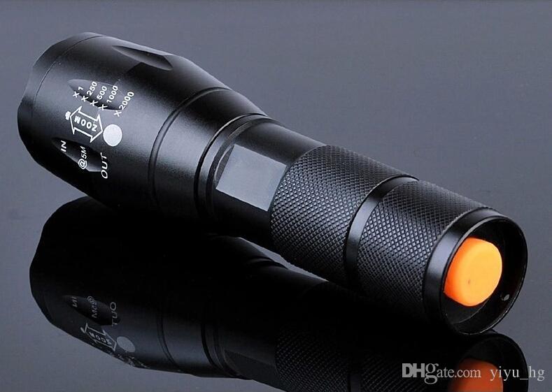 E17 Cree XML T6 LED El Feneri 2000 Lümen Taktik Su Geçirmez Zumlanabilir Güçlü Lamba Kamp Fener Meşale Tarafından 3 xAAA veya 18650 Pil