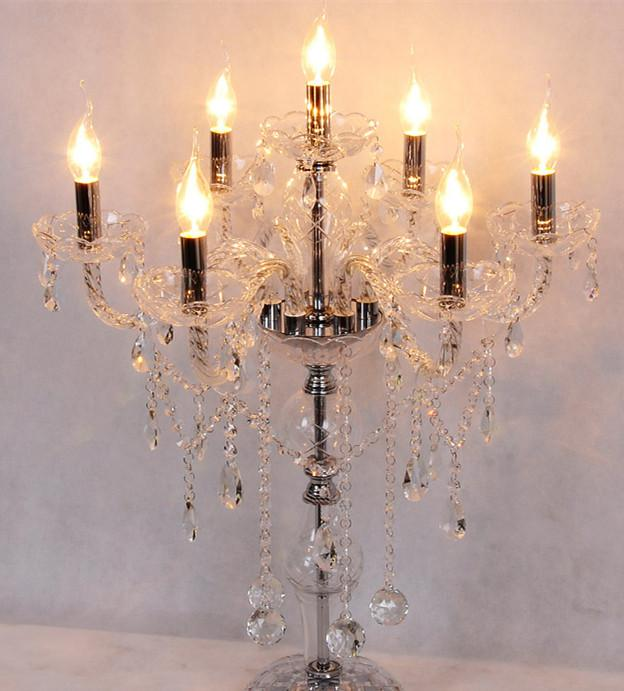 2017 7 Arms Big Glass Candle Holder Table Lamps Crystal Candelabra Lights  Birthday Wedding Candle Table Light Diningroom Bedroom Desk Light From  Royallamps, ...