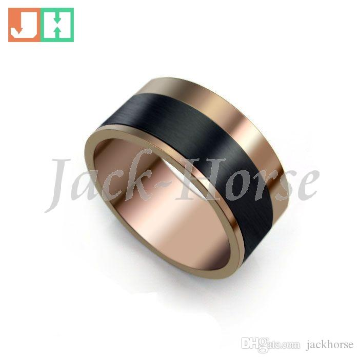 High quality wholesale jewelry coffee coated men's stainless steel ring fashion circle style ring new arrival