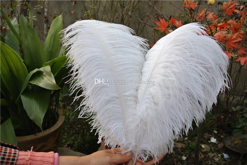 Оптовая продажа-бесплатная доставка 100 шт. / лот 14-16 дюймов 35-40 см белые страусиные перья для свадьбы decoraction свадьба центральным партия событие декор