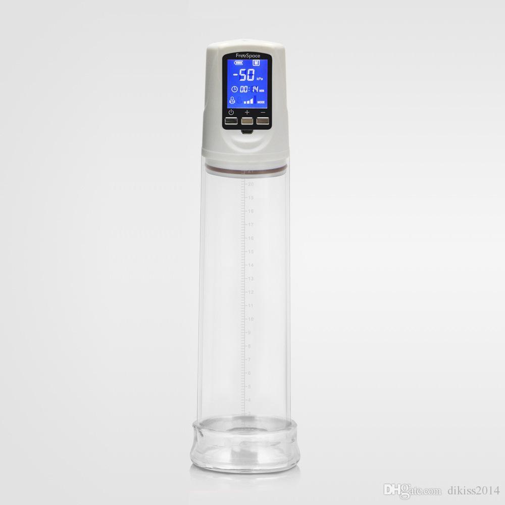LCD 디스플레이 음경 펌프 2 세대 USB, 충전 된 전기 음경 확대, 전기 음경 익스텐더 섹스 머신, 남자를위한 섹스 토이