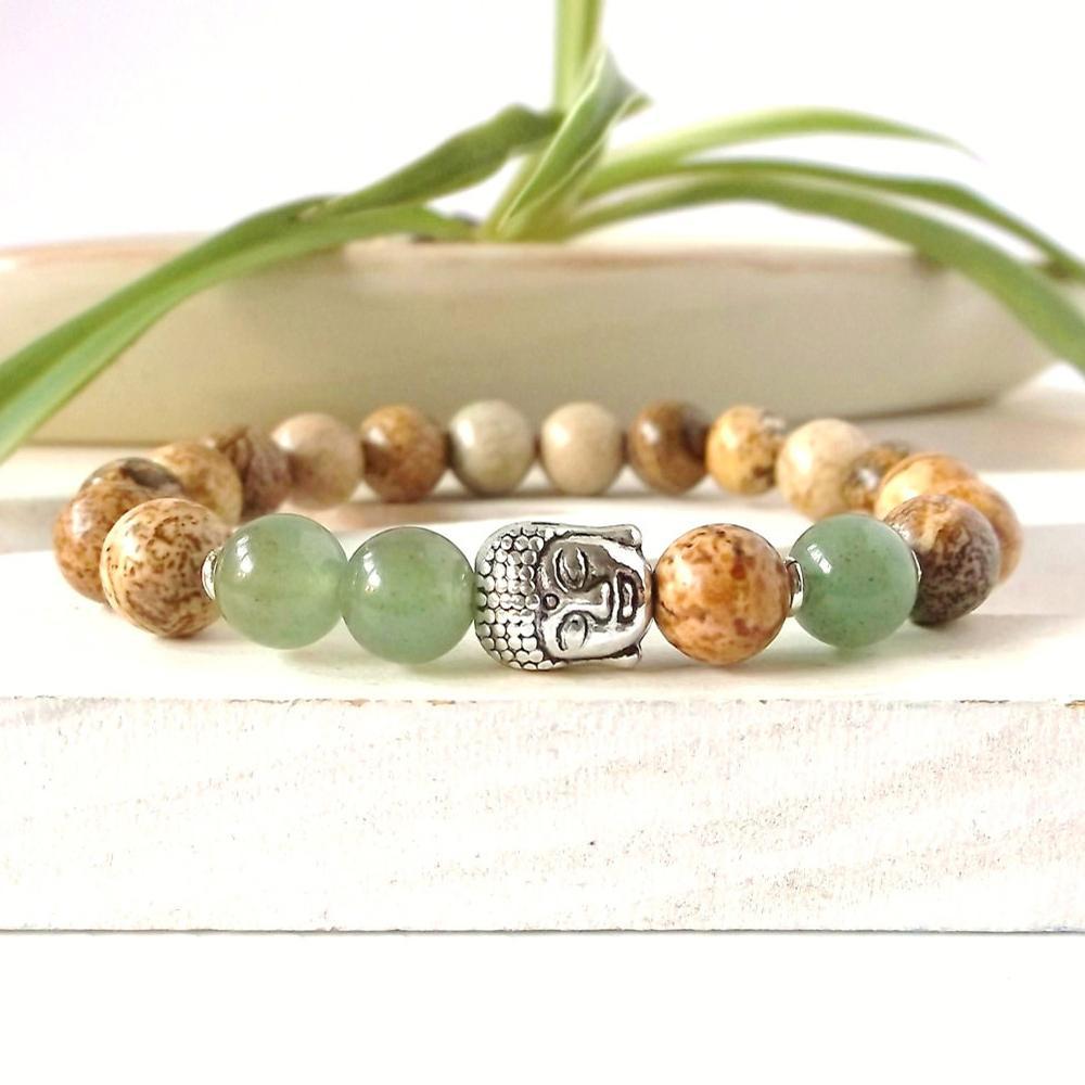SN0264 Lage Prijs Groothandel Yoga Sieraden Zilveren Boeddha Armband Picture Stone Bracelet 2016 Man Armband Gratis Verzending