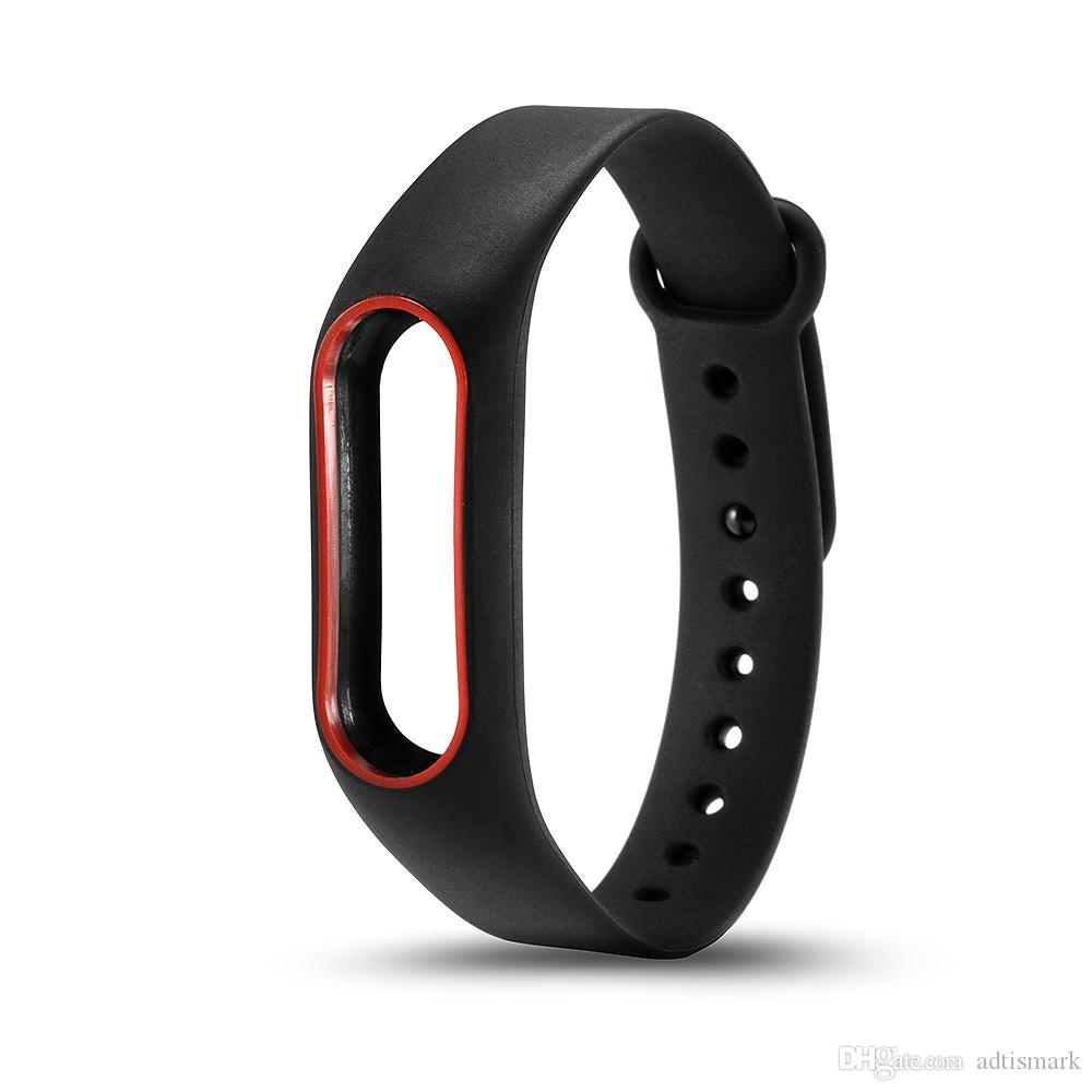 Wholesale Colorful Silicone Wrist Strap Bracelet Double Color Replacement watchband for Original Miband 2 Xiaomi Mi band 2 Wristbands