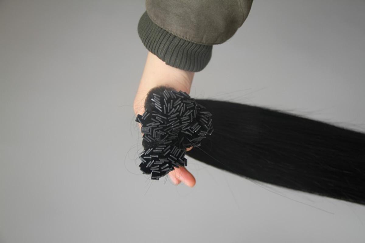 Fusion Hair Extension 10-30 pollici nero colore naturale Remy italiano cheratina capsula punta piatta estensione dei capelli, 6A tessuto dei capelli vergini