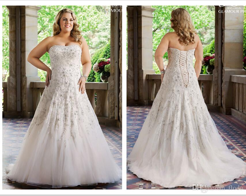 Discount Luxury Beaded Lace Plus Size Wedding Dresses 2016