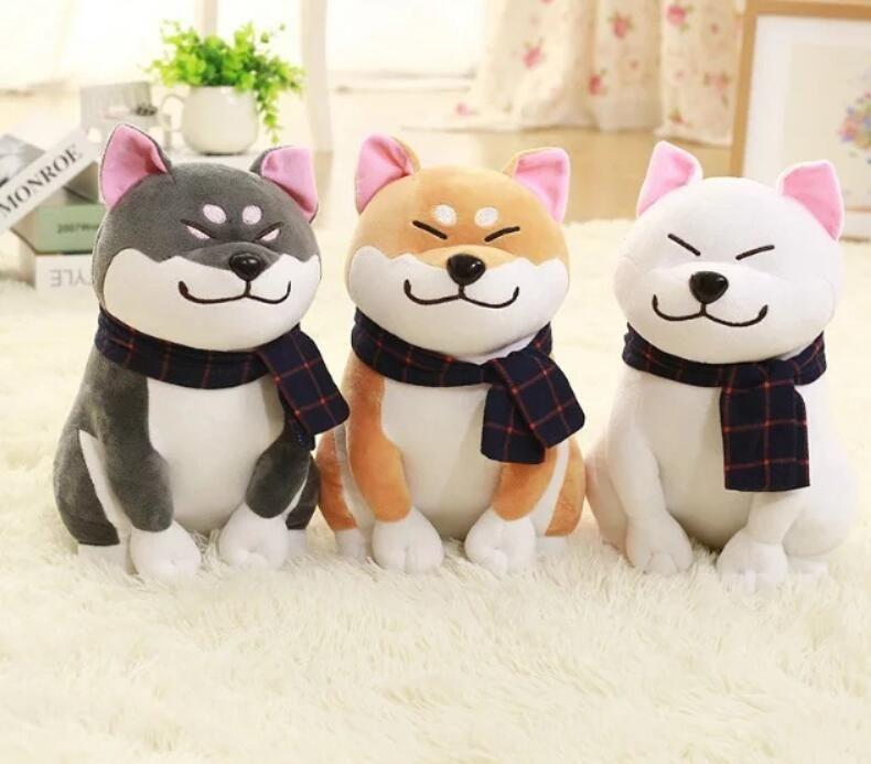 25 cm de desgaste bufanda Shiba Inu perro muñeca japonesa Doge Dog relleno de peluche suave Animal juguetes de peluche lindo regalo del bebé