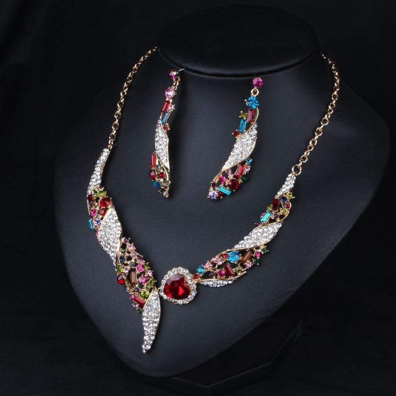 2015 New bride color crystal gemstone necklace+ earring Jewelry Sets Accessories clavicle chain dress accessories