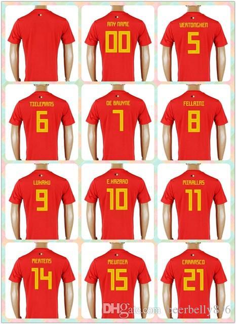 dea74ef4346 ... usa customized thai 2018 world cup country jersey belgium 7 de bruyne 8  fellaini 9 lukaku