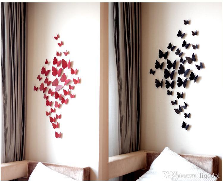 12 Teile / los 3D PVC Magnet Schmetterling DIY Wandaufkleber Decals Home Decor Poster für Kinderzimmer Adhesive to Wanddekoration Kostenloser Versand