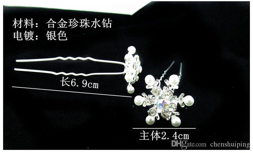 New snow pearl diamond hairpin Fiocco a forma di fiocco a forma di u piccolo articolo adornato Accessori capelli bambini Bastoncini capelli bambini