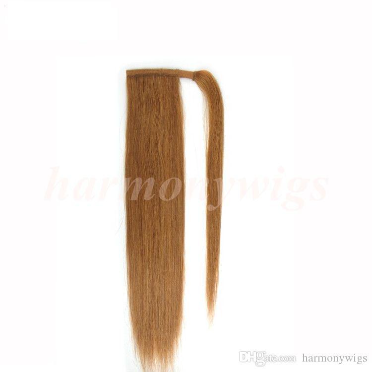 Top Qualität 100% Echthaar Pferdeschwanz 20 22inch 100g # 2 / Darkest Brown Double Drawn Brazilian Malaysian Indian Haarverlängerungen Weitere Farben