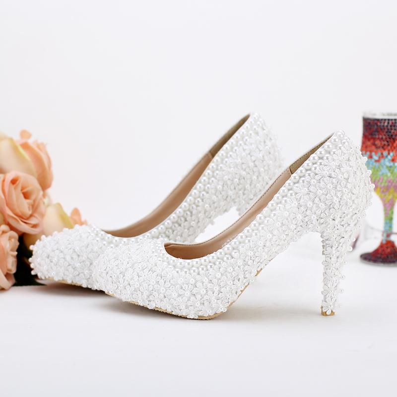 b1048068cd5 Pearl Bridal Shoes White Lace Wedding Shoes High Heels Evening Party Prom  Shoes Elegant Ladies Dress Shoes Shoes Flats Shoes Shop Online From  Main1019