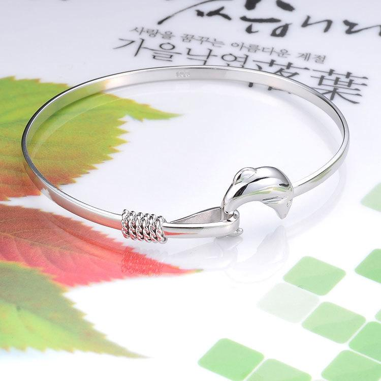2016 Wholesale-Korean Style Women Jewelry Solid 925 Sterling Silver Dolphin Bangle Bracelet Gift Hot Style