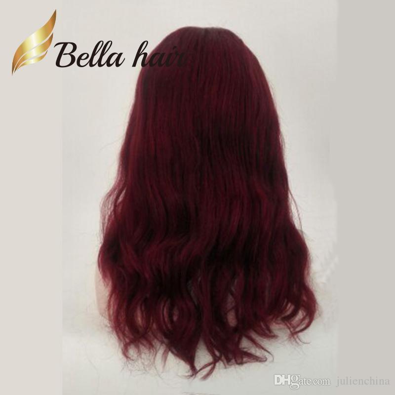 Festival de navidad Color rojo Peluca de cabello humano chino largo natural Liso atado a mano Hermosa peluca llena de encaje Julienchina Bella personalizada