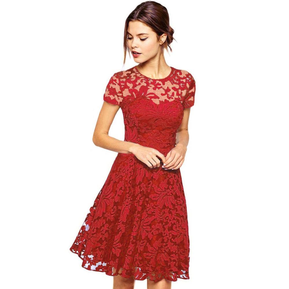 a7314126771f2 Vintage Casual Lace Dress 2017 Summer Sexy Hollow Out A Line Pleated  Dresses Short Sleeve Slim Elegant Ladies Dress