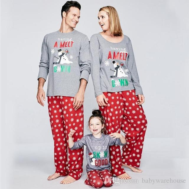 family christmas pajamas santa snowman printing father son mother daughter pajamas xmas pyjamas set adult kids sleepwear family look family matching clothes - Cheap Family Christmas Pajamas
