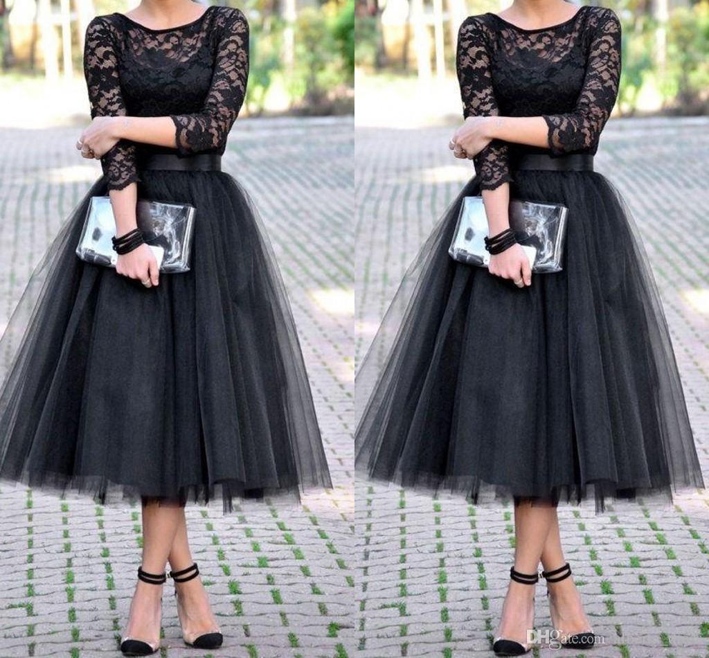 Vestidos de noite vestidos de dama de honra 3/4 mangas compridas saia de tule chá de panela chá comprimento barato frete grátis festa Prom vestido