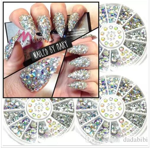 Nail Art Dekorationen 3D Nail Art Strass Kristall Glitter Nails Rad-Dekorationen für DIY-Bolzen-freies Verschiffen