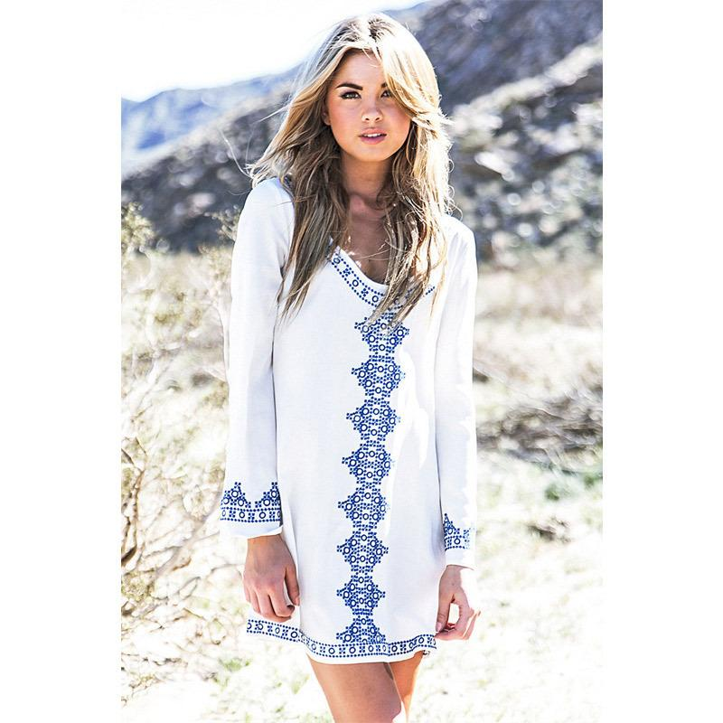 2019 Summer Women Long Sleeved Embroidered Casual Sun Dress Swimsuit