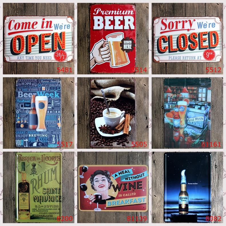 2019 2016 20 30cm Beer Coffee Wine Drink Open Close Poster Tin Sign