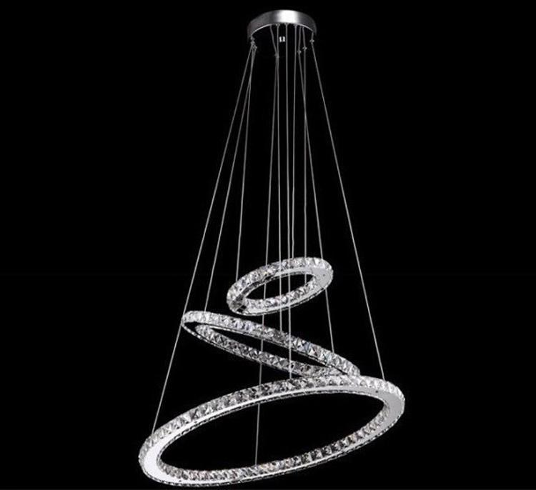 Modern Lamp 3 Ring Led Double Round Crystal Chandelier Aslo For Whole Galaxy Hanging Lights Ceiling Light Fixtures From Thebasket