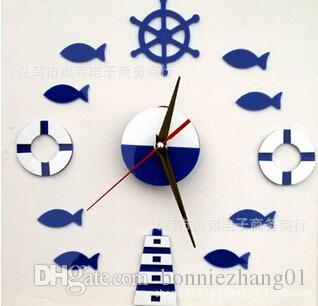 Hot Sale 2016 acrylic DIY sea movement Quartz Art Home Decor novelty wall clock